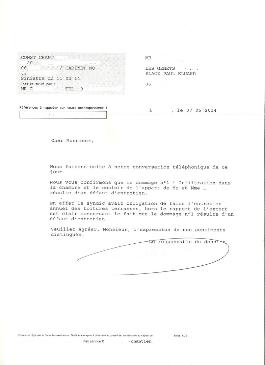 Exemple  d'une lettre reçu par un copropriétaire de son assurance dommage ouvrage se rétractant suite à un défaut d'entretien